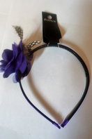 Purple flower and feather alice band (Code 3045)